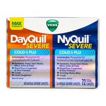 Капсулы от простуды и гриппа  Vicks DayQuil & NyQuil SEVERE, 72 капсулы