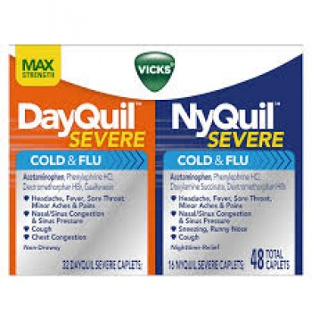 Капсулы от простуды и гриппа Vicks DayQuil & NyQuil SEVERE, 48 капсул