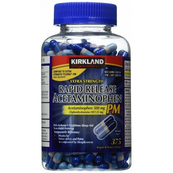 Kirkland Signature Extra Strength Rapid Release Acetaminophen PM, 500 мг 375 капсул