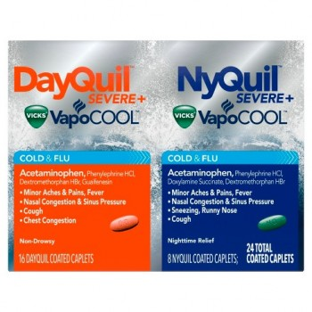 Vicks VapoCOOL DayQuil & NyQuil SEVERE Средство для лечения простуды и гриппа 24 капсулы