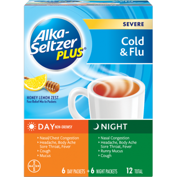 Лекарство от простуды и гриппа Alka-Seltzer Plus Severe Cold & Flu Day/Night Honey Lemon Powder, 12 пакетиков