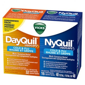 Капсулы от простуды и гриппа Vicks DayQuil & NyQuil, 48 капсулы