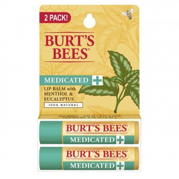 Лечебный бальзам для губ Burt's Bees Medicated Lip Balm 2 pack 2 штуки x 4,25 г (с ментолом и маслом эвкалипта)