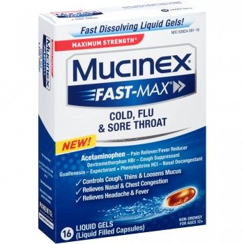 Капсулы от простуды и гриппа Mucinex Fast Max Cold Flu and Sore Throat Liquid Gels, 16 капсул